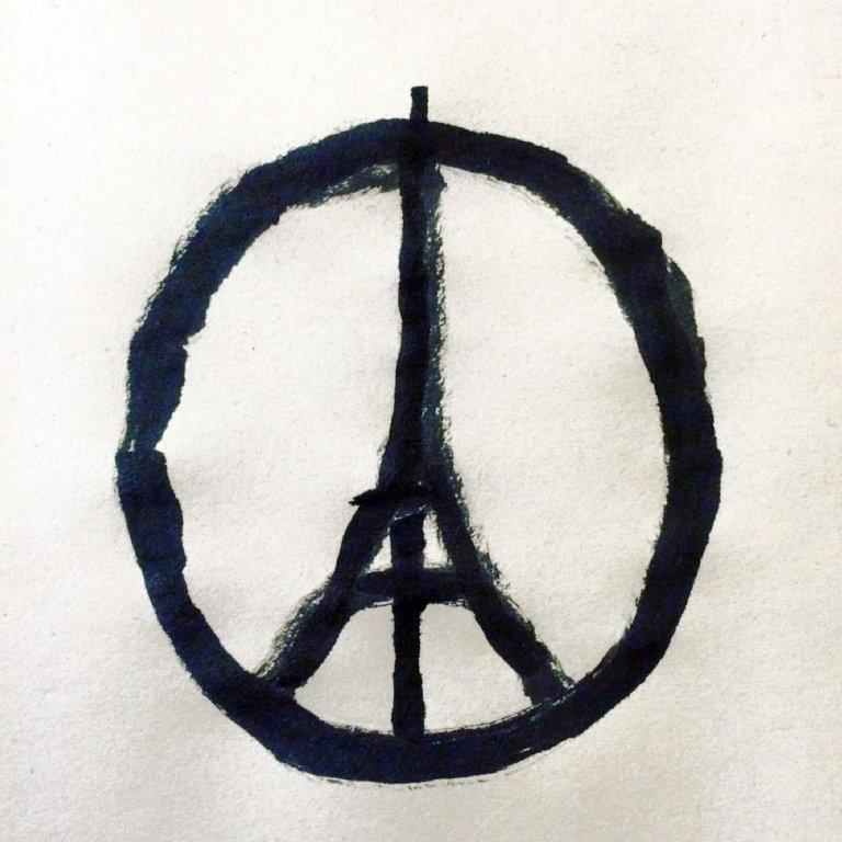 "A handout photo provided on November 14, 2015 by Jean Jullien Studio Ltd shows the ""#PeaceForParis"" logo. At least 128 people were killed in gun and bomb attacks in the French capital on November 13, in what French President Francois Hollande called ""an act of war."" AFP PHOTO / JEAN JULLIEN STUDIO LTD / JEAN JULLIEN = RESTRICTED TO EDITORIAL USE - MANDATORY MENTION OF THE ARTIST UPON PUBLICATION, TO ILLUSTRATE THE EVENT AS SPECIFIED IN THE CAPTION - MANDATORY CREDIT ""AFP PHOTO / JEAN JULLIEN STUDIO LTD / JEAN JULLIEN"" - NO MARKETING NO ADVERTISING CAMPAIGNS - DISTRIBUTED AS A SERVICE TO CLIENTS =JEAN JULLIEN/AFP/Getty Images"